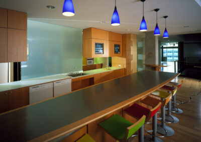 matte decorative film on glass panels in erricson kitchen