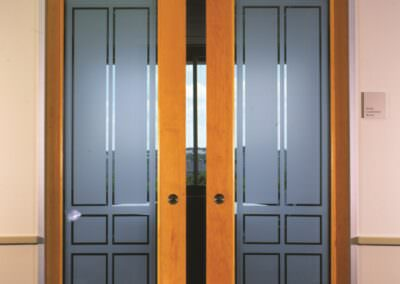 rectangles from decorative film on doors
