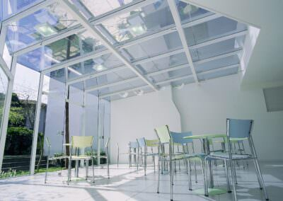 solar protection film on glass ceiling