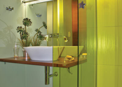 yellow dyed decorative film used in a bathroom